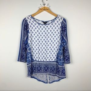 Lucky Brand | Blue / White High Low Blouse SZ M
